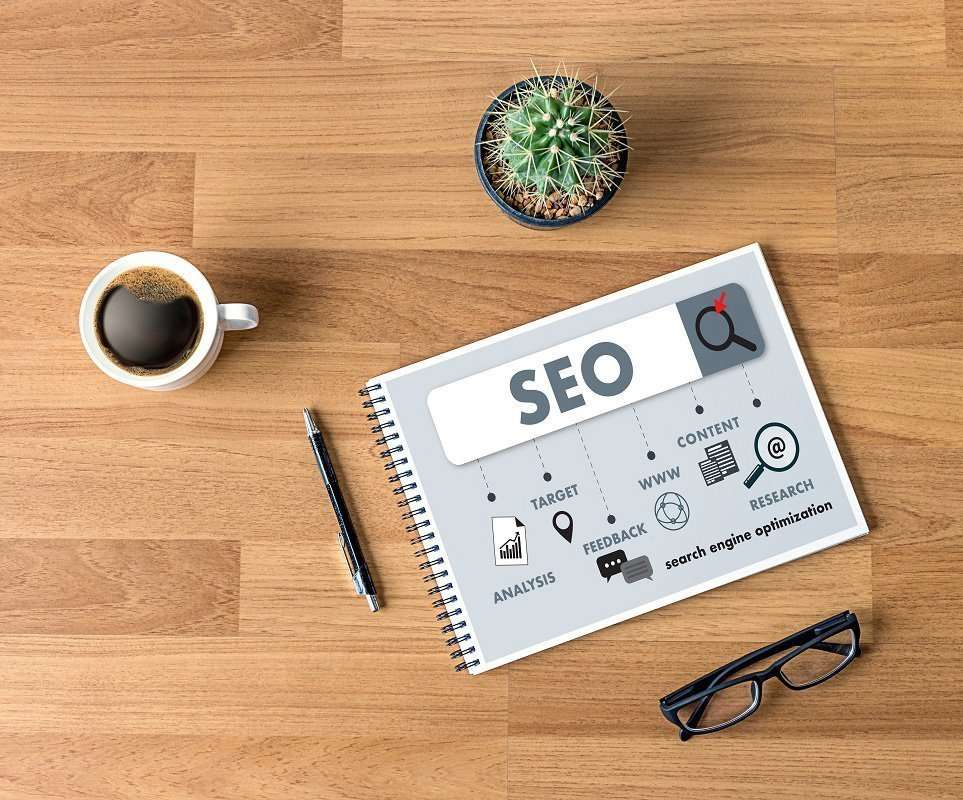 SEO concept on a notebook